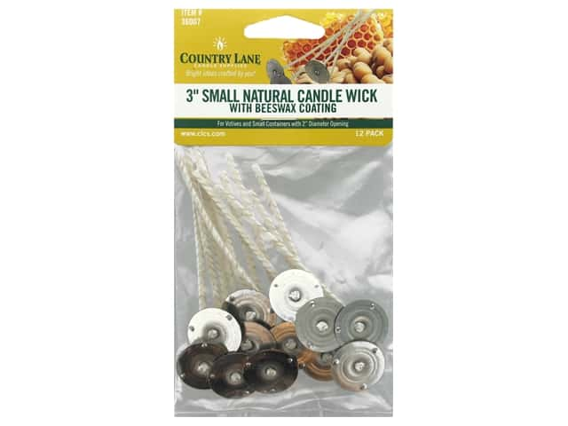 Country Lane Candle Wicks Beeswax Coated 3 in. Small Tab 20 mm Natural
