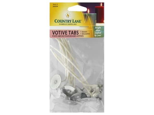 Country Lane Candle Wicks Prewicked Votive Tab 12 pc