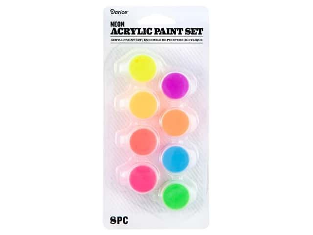 Darice Paint Pot Acrylic Neon 8 pc