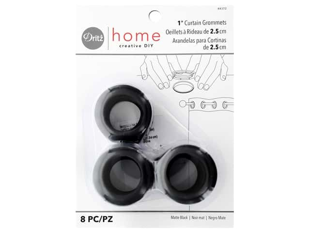 Dritz Home Curtain Grommets 1 in. Round Matte Black 8 pc.