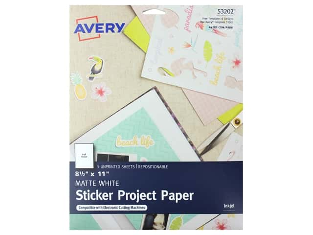 Avery Sticker Paper 8 1/2 x 11 in. White 5 pc.