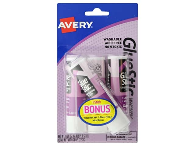 Avery Glue Stick .26 oz. 3 pc. Disappearing Color Permanent