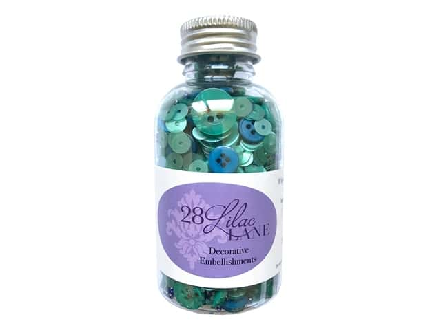 Buttons Galore 28 Lilac Lane Embellishment Bottle Jade