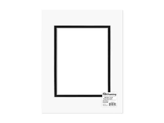 PA Framing Pre-cut Double Photo Mat Board White Core 11 x 14 in. for 8 x 10 in. Photo White/Black