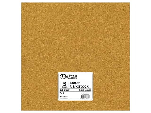 Paper Accents Glitter Cardstock 12 x 12 in. #G10 Gold 5 pc.
