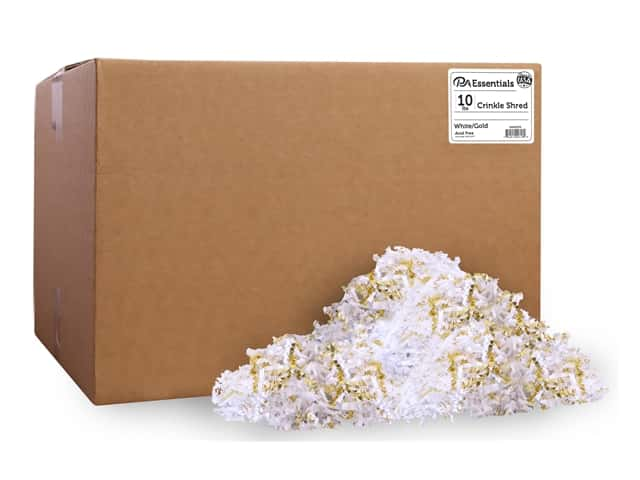 PA Essentials Crinkle Shred 10 lb. White/Gold
