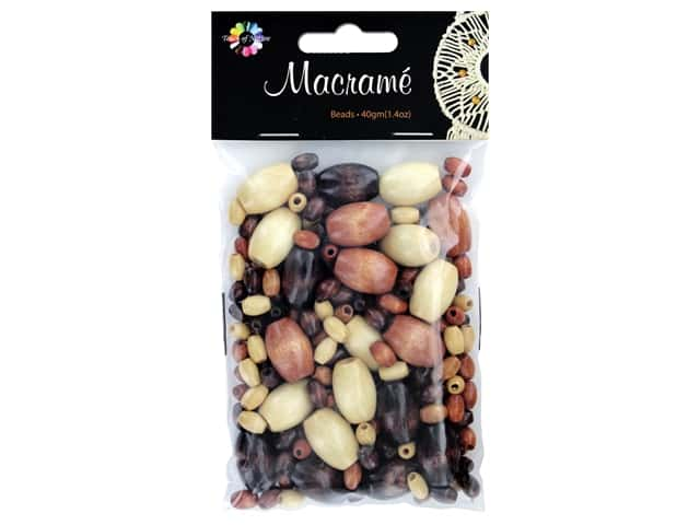 Midwest Design Embellishment Beads Macrame Mix Assorted Brown 1.4 oz