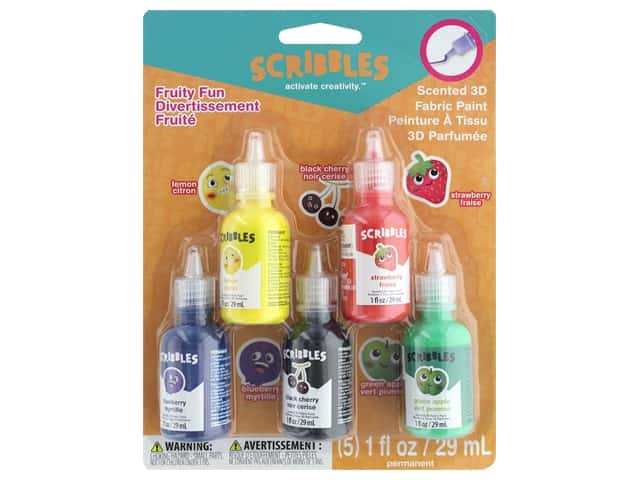 Scribbles 3D Fabric Paint 1oz Scented Fruity Fun 5 pc