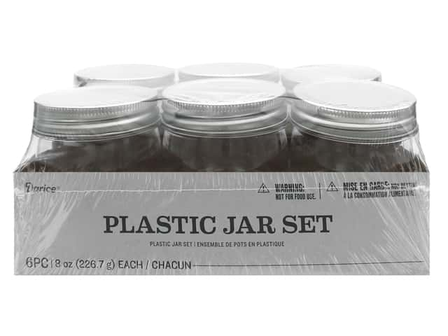 Darice Plastic Jar Regular Mouth 6 pc