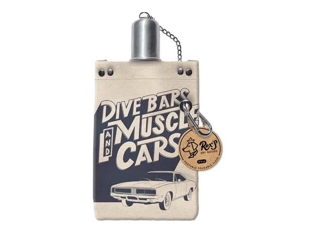 Molly & Rex Canvas Flask Dive Bars And Muscle Cars 8 oz