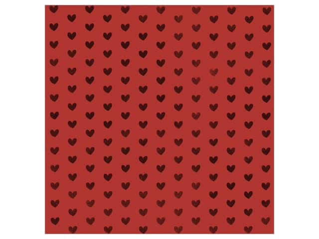 Bazzill Paper 12 in. x 12 in. Heart Foil Red Hots