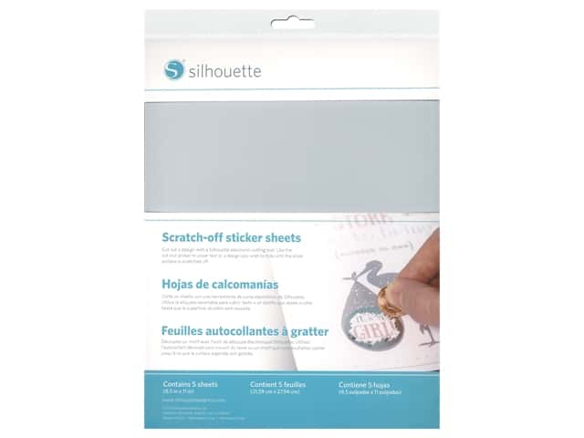 Silhouette Scratch Off Sticker 8.5 in. x 11 in. Silver 5 pc
