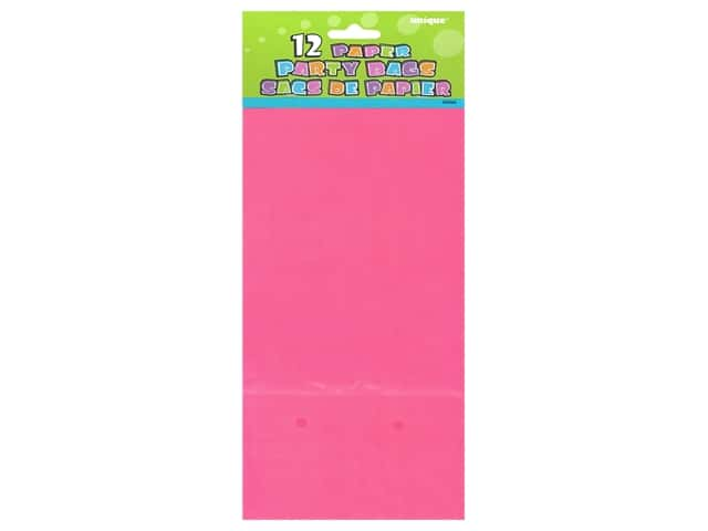 Unique Party Bags 12 pc. Hot Pink