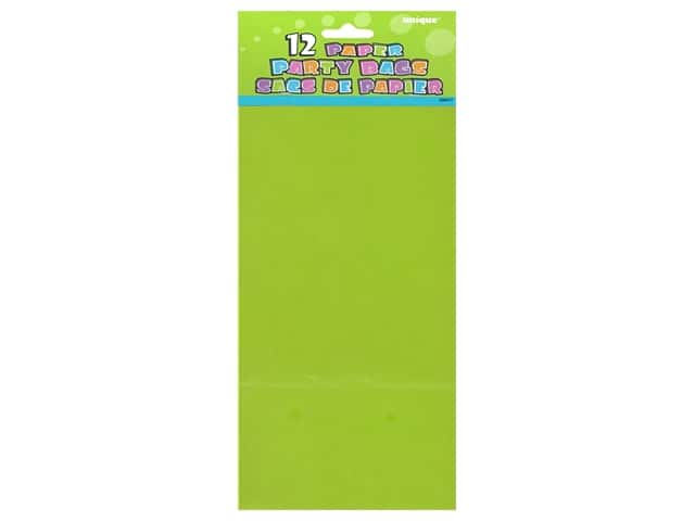 Unique Party Bags 12 pc. Lime Green