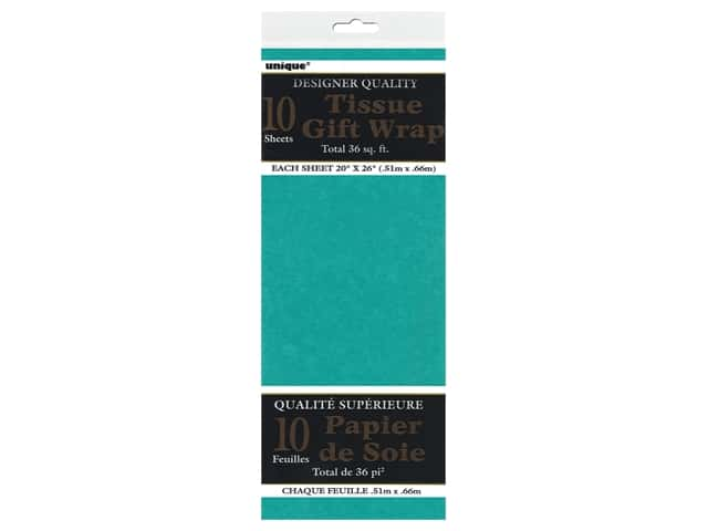 Unique Tissue Wrap 20 x 26 in. Teal Green 10 pc.