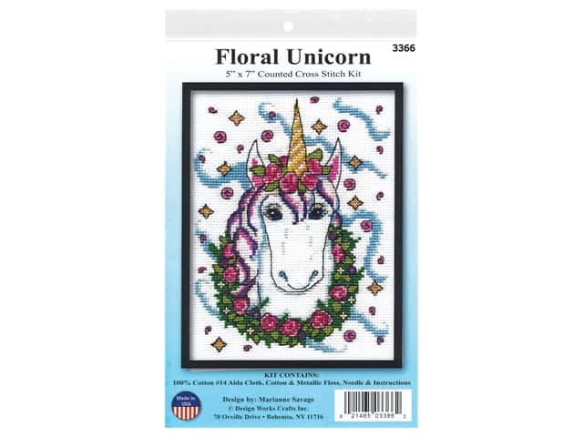 Design Works Cross Stitch Kit 5 in. x 7 in. Counted Unicorn