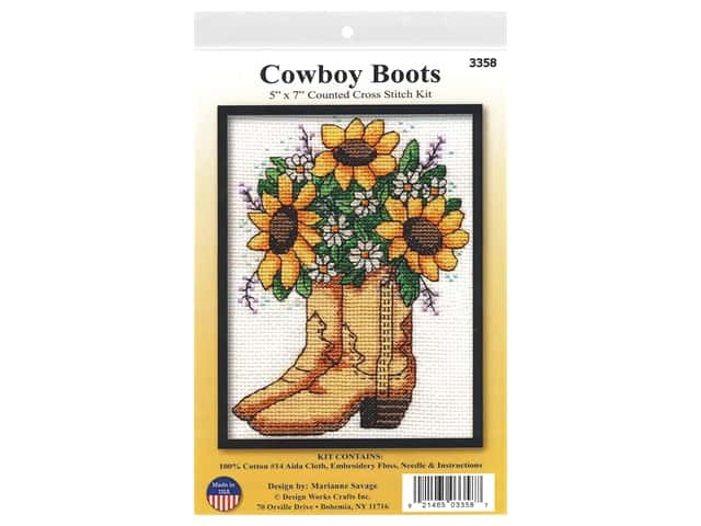 Design Works Cross Stitch Kit 5 in. x 7 in. Counted Cowboy Boots