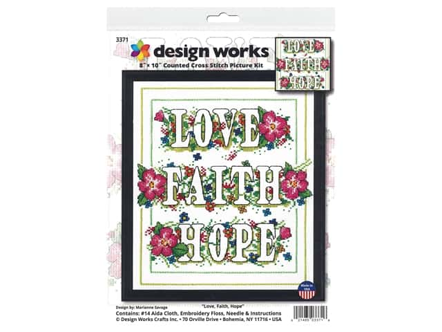 Design Works Cross Stitch Kit 8 in. x 10 in. Counted Love Faith Hope