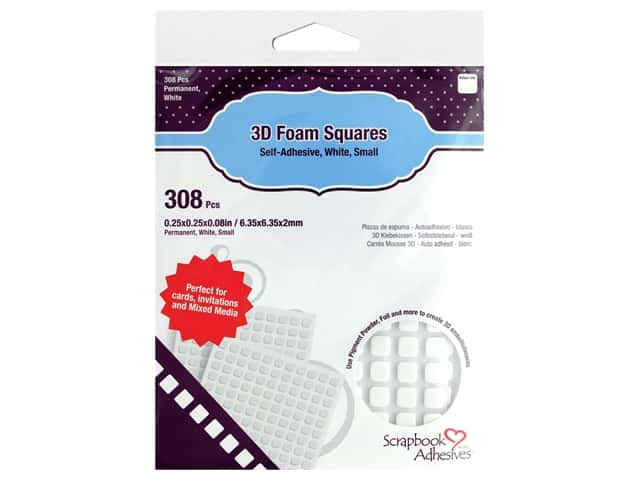 3L Scrapbook Adhesives 3D Foam Squares 308 pc. 1/4 in. White