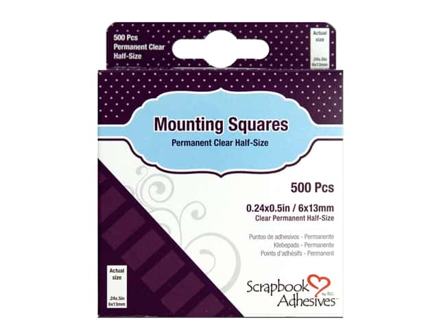 3L Scrapbook Adhesives Mounting Squares 500 pc. Half-size Clear