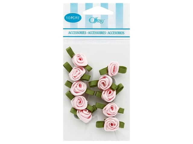 Offray Small Satin Ribbon Roses 10 pc. Light Pink