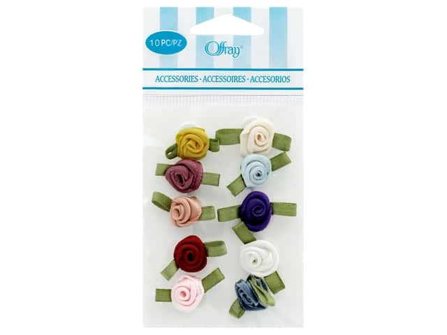 Offray Small Satin Ribbon Roses 10 pc. Multi-Color