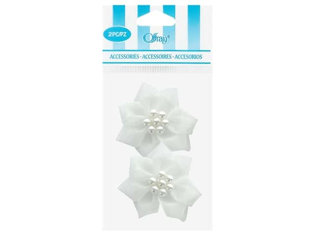 Offray Sheer Petal Ribbon Rose 2 pc. White