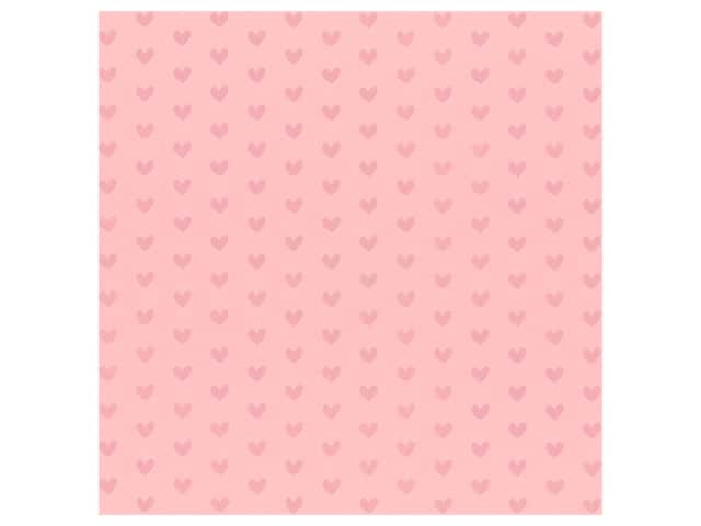 Bazzill Paper 12 in. x 12 in. Heart Foil Cotton Candy Pink