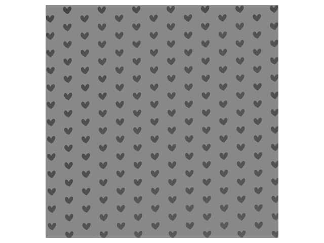 Bazzill Paper 12 in. x 12 in. Heart Foil Rock Candy Gray