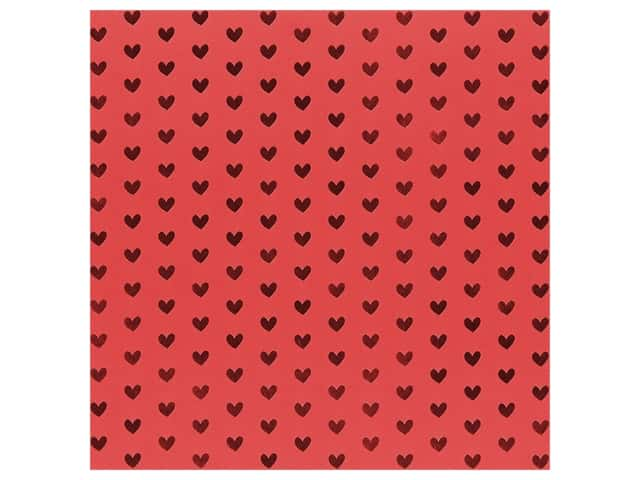 Bazzill Paper 12 in. x 12 in. Heart Foil Lollipop Red