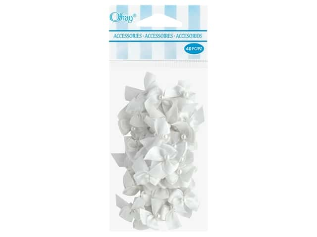Offray 2 Loop Ribbon Bow with Pearl 40 pc. White