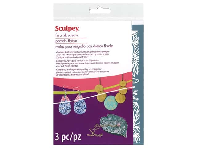 Sculpey Clay Tool Silk Screen Set Florals