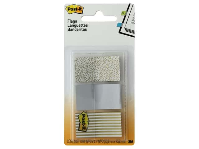 Post-It Note Flags Printed 1 in. Assorted Metallic