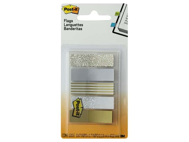 """Post-It Note Flags Printed .5""""  in. Assorted Metallic"""