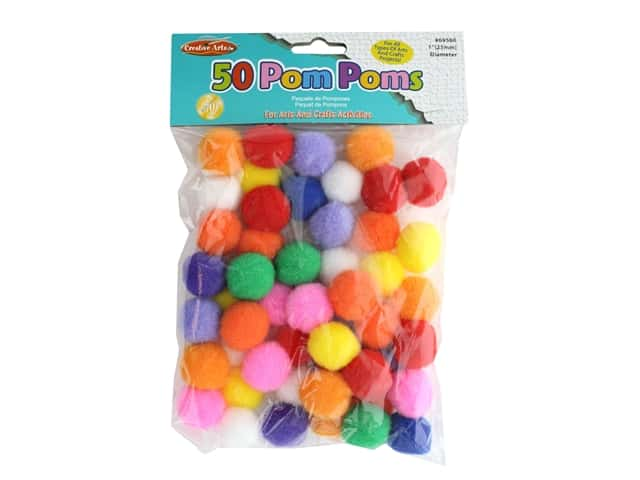 Creative Arts Pom Pom 1 in. Assorted Colors 50 pc