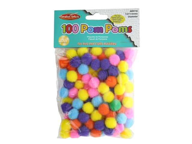 Creative Arts Pom Pom 5 in. Assorted Colors 100 pc