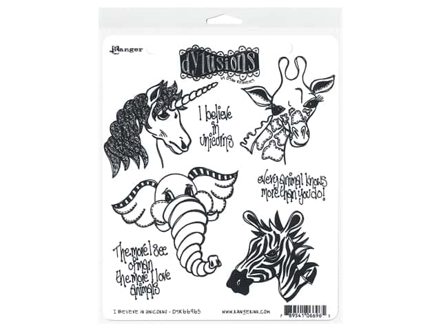 Ranger Dylusions Cling Stamp Set I Believe In Unicorns
