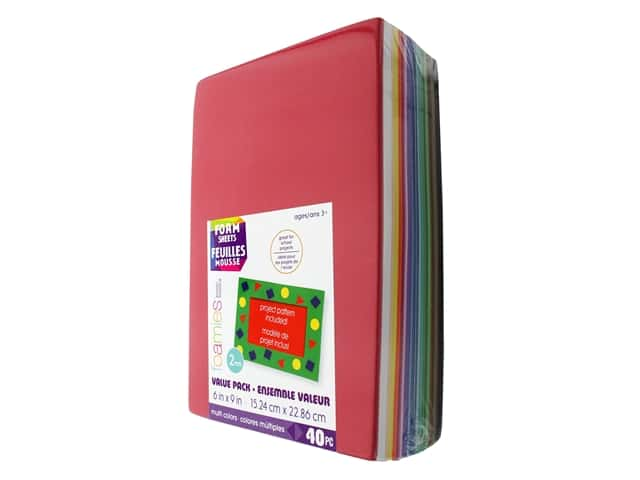 Darice Foamies Foam Sheet 6 x 9 in. 2 mm. 40 pc. Assorted Colors