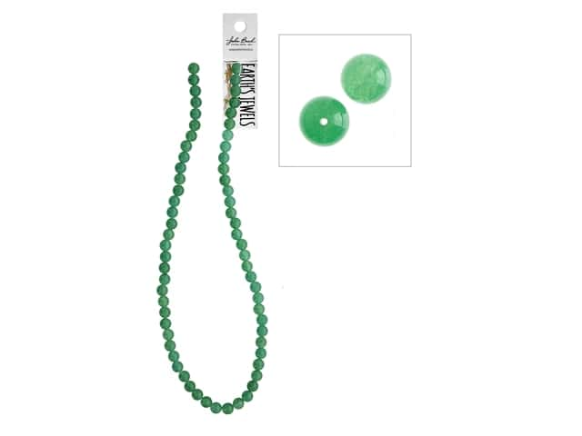 John Bead Semi-Precious 16 in. 6 mm Round Green Aventurine Natural Dyed