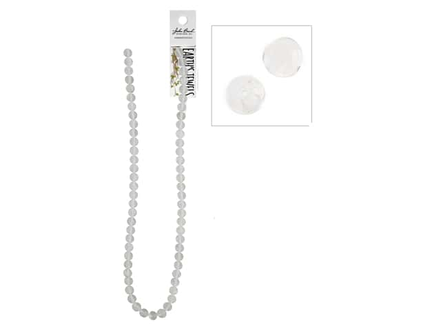 John Bead Semi-Precious 16 in. 6 mm Round Clear Quartz Natural