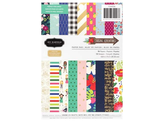 Pebbles Collection Hen Hadfield Chasing Adventures Paper Pad 6 in. x 8 in. Gold Foil