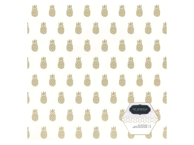 Pebbles Collection Hen Hadfield Chasing Adventures Paper 12 in. x 12 in. Gold Foil Pineapple