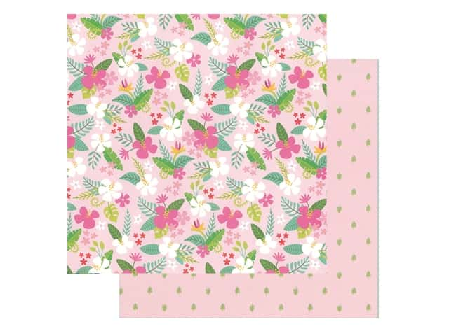 Pebbles Collection Hen Hadfield Chasing Adventures Paper 12 in. x 12 in. Tropical Delight