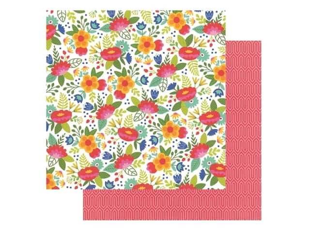 Pebbles Collection Hen Hadfield Chasing Adventures Paper 12 in. x 12 in. Fiesta Flower