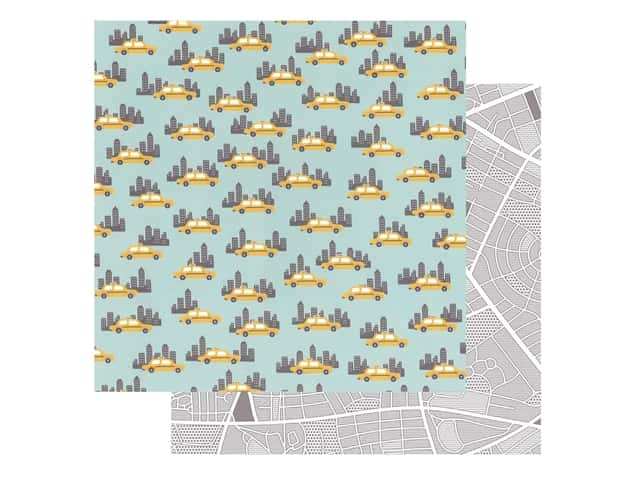 Pebbles Collection Hen Hadfield Chasing Adventures Paper 12 in. x 12 in. Big City