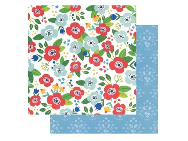 Pebbles Collection Hen Hadfield Chasing Adventures Paper 12 in. x 12 in. Flower Market
