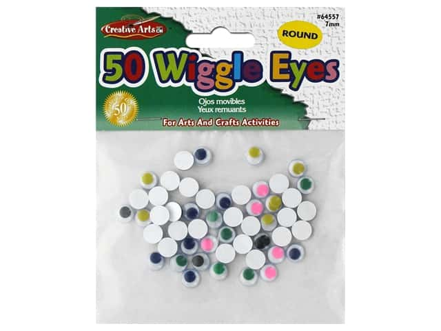 Creative Arts Wiggle Eyes Round 7 mm 50 pc Assorted