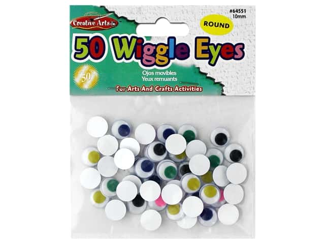 Creative Arts Wiggle Eyes Round 10 mm 50 pc Assorted