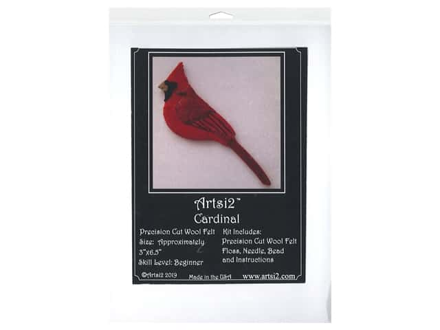 Artsi2 Wool Felt Kit Cardinal Ornament Kit