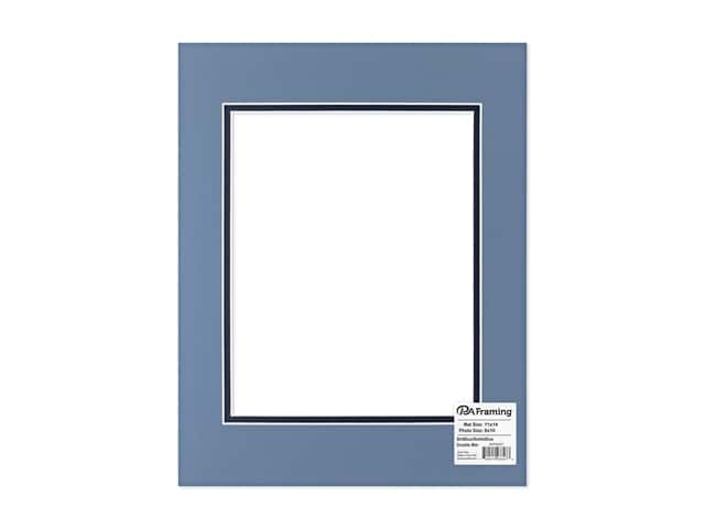 "PA Framing Mat Double 11""x 14"" /8""x 10"" White Core Brittany Blue/Bottle Blue"